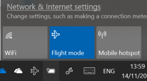 Example of Wireless controls in Windows 10