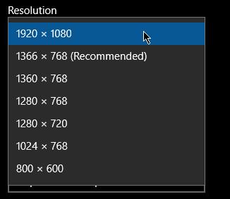 Windows 10 resolution select