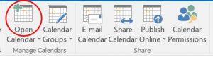 Open Calendar button