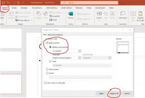 Inserting a date to PowerPoint all slides