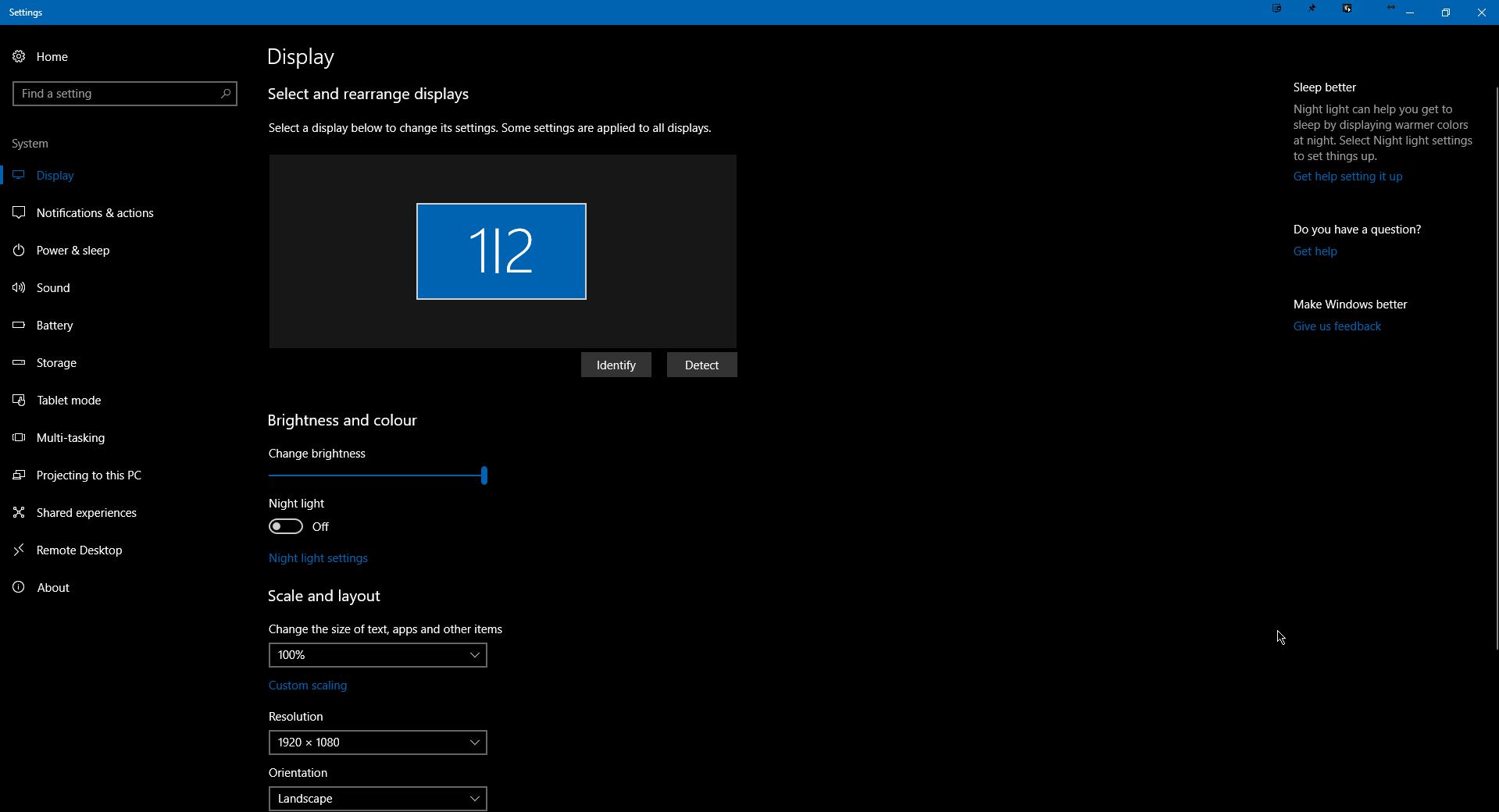 Windows 10 display settings - mirrored display