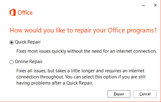 Office 2016 repair